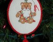 Yuletide Santa Bear Cross Stitch Ornament