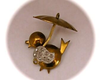 Vintage 50s BIRD With UMBRELLA Gold Tone Brooch Pin