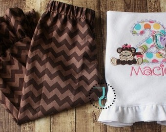 Jungle Birthday Outfit - Pants Outfit, Safari Birthday, Girls Ruffle Pants Outfit, Monkey Shirt, Girls Ruffle Pant Sets, Elephant Shirt, M2M