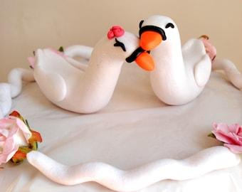 Swan Wedding Cake Toppers Romantic Bride and Groom Cake Topper Keepsake
