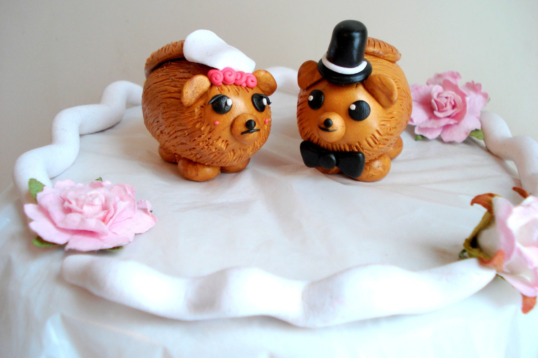 Pomeranian Wedding Cake Topper Dog Wedding by MagicalGifties