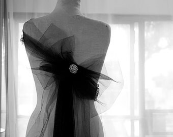 Belt and romantic bow brooch Black