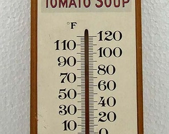 Vintage Heinz Tomato Soup Wooden Advertising Thermometer Collectible 1986 Give Away Kitchen Decor Wall Haning Cottage Chic