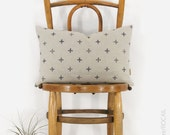 Hand wood block printing crosses lumbar pillow case in grey and beige | 12x18 throw pillow, cushion cover | Modern & Mid Century Home Decor