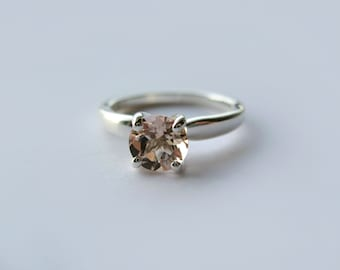 Light Salmon Pink Morganite Ring In Sterling Silver, Engagement Ring, 0.8ct, Size 6, 7
