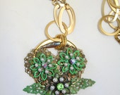 Green patina flowers filigree rhinestones pearl beads buckle 24 in chain