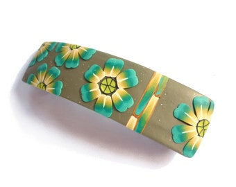 Polymer clay hair barrette, French hair pin,Turquoise flowers Kaki Hair Barrette,  flowers handmade in polymer clay, Made in France hair pin