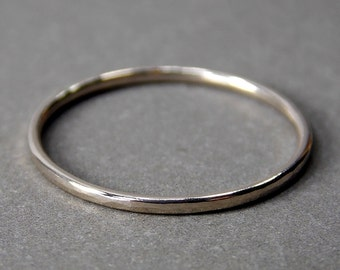 14K White Gold Ring, Extra Skinny White Gold Stacking Ring, Solid 14K White Gold Ring - Made to Order