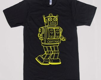 mens vintage robot t shirt- American Apparel black- available in S,M,L,XL,XXL- Wordwide Shipping