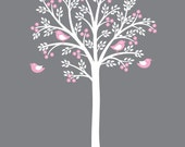 White Tree Pink Flowers Wall Decal