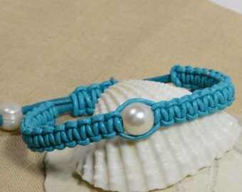 Leather Pearl Jewelry With Big Pearls, Shamballa Bracelet Leather Pearl Bracelet