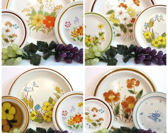 vintage colorful floral stoneware plates dinner salad dessert bread butter