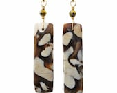 Reserved for LK: Completely Stunning Peanutwood Fossil Earrings on 14k Goldfill