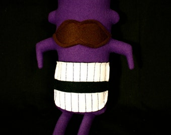MINI MONSTER Theodore in Purple with a Mustache and a Big Smile