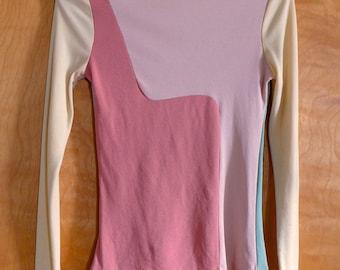 Vintage Late 1960s- Early 1970s Pastel Color Block Dress Set, a la Pucci - Poco