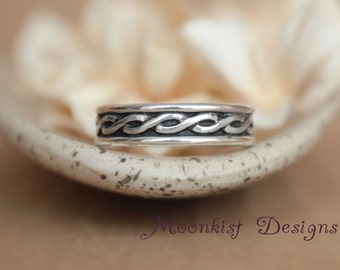 Celtic Endless Knot Wedding Band in Sterling - Silver Wide Celtic Pattern Band - Braided Promise Band - Silver Anniversary Bridal Band