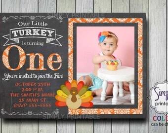 Our Little Turkey 1st Birthday Chalkboard Invitation