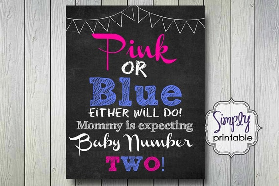 Pregnancy Announcment Print, Pink or Blue Either Will Do, Printable New Baby Sign (Digital File)