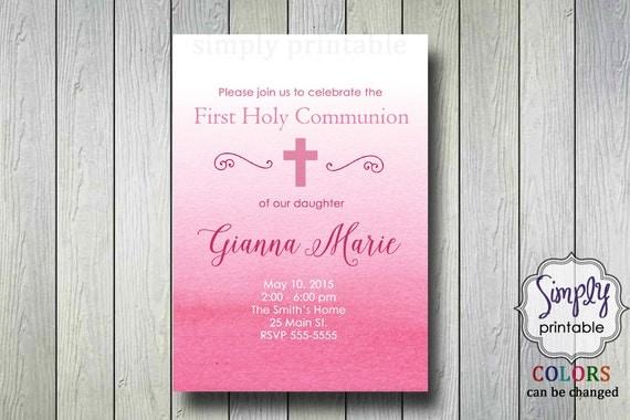 Pink Baptism/Communion Digital Invitation, Watercolor Invite, Ombre Christening Invitation