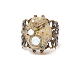 Steampunk Ring OCTOBER OPAL Steampunk Jewelry Steampunk Watch Ring Birthstone Ring Victorian Steam Punk Jewelry by Victorian Curiosities