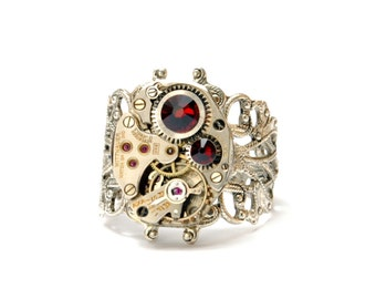 JANUARY Steampunk Ring, GARNET RED Steampunk Watch Ring, Victorian Jewelry, January, July, Victorian Steampunk Jewelry Victorian Curiosities