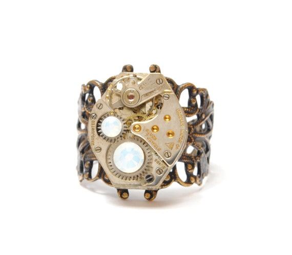 OPAL Steampunk Ring OCTOBER Steampunk Jewelry Steampunk Watch Ring Birthstone Ring Victorian Steam Punk Jewelry by Victorian Curiosities