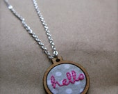 hello embroidered hoop pendant necklace