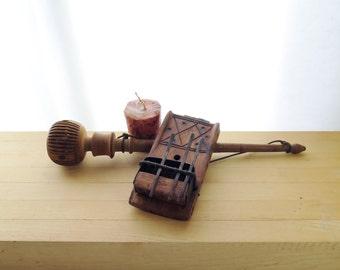 Antique Primitive Wood And Metal Musical Instrument Wood Drumstick