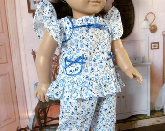 Baby Doll Pajamas, Pajamas, Ruffled Pajamas, 18 inch Doll Clothes