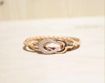 Rose Gold Plated Eternity Motive leather Bracelet(Apricot)