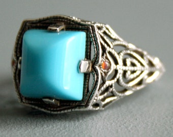 Turquoise Blue Ring Glass & Fire Opal Ring Simulated Persian Turquoise Sterling Silver Ring Filigree Blue Jewelry Womens Ladies Ring sz 7.5