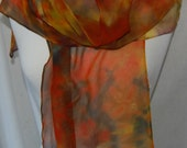Hand Dyed chiffon Silk Scarf  Hand painted Scarf -  brown, green, persimmon (orange), yellow, red, black  Batik women's fashion Autumn