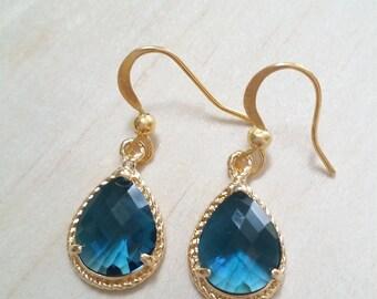 Sapphire blue earrings Blue gold earrings blue wedding Bridesmaid earrings gift for her Something BLUE Dangle earrings mother of the bride