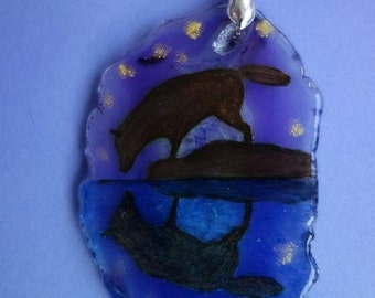 FREE SHIPPING Hand painted stone   Pendant wolf 2