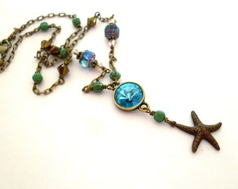 Turquoise rhinestone starfish necklace, beach theme necklace, gold antiqued brass chain, Austrian crystal, glass beads, brass beach jewelry