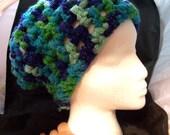 Sale! 4 dollar Chunky Blue Green Crochet Mesh Beanie
