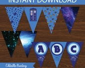 Dr Who Banner DIY Printable  - INSTANT DOWNLOAD - Dr Who Inspired
