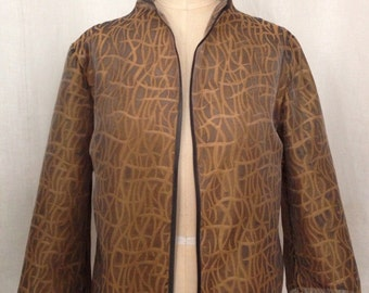 Bronze & Charcoal Novelty Organza Evening Jacket, size Large (10)
