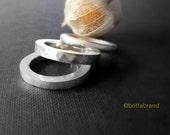 Heavy Silver Stacking Ring - Hammered finish