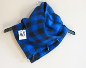Blue buffalo plaid cowl made from recycled wool--winter fashion--women's cowl--plaid scarf
