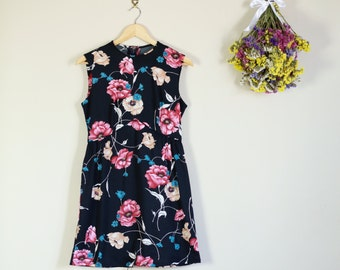 SALE Vintage 60s Black, Pink and White Floral Sleeveless Mini Dress Cute Summer
