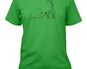 Elephant Shirt Giraffe Shirt - Elephants and Giraffes are Friends - 3 Colors Available - Mens Cotton Shirt - Gift Friendly