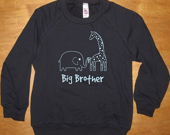 Big Brother Elephant and Giraffe Sweatshirt - Big Brother Shirt  Long Sleeved Shirt Navy Blue - Fleece 2T, 4T, 6, 8, 10, 12  - Gift Friendly