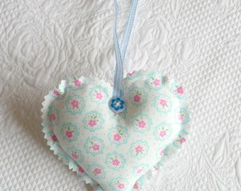Floral Hanging Heart Ornament Fabric Pastel blue Millefiori small flowers mint aqua europeanstreetteam