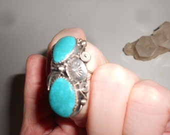 Navajo Turquoise Ring Squash Blossom ORNATE Double Stone Dead Pawn Hand Made- Vintage 70s Native American Silver Jewelry
