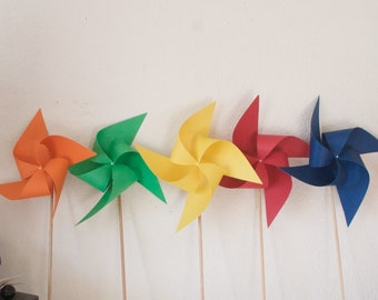 Rainbow Wedding Birthday Decoration Carnival Circus Decor Primary color Party - 6 large Pinwheels Primary colors (Custom orders welcomed)