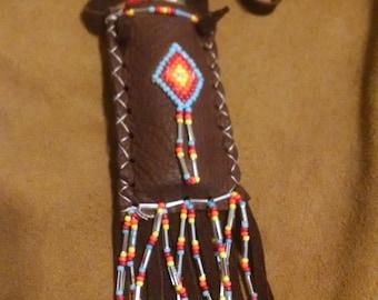 star.fire.sky ~ deep brown buckskin lighter holder necklace w handbeaded details