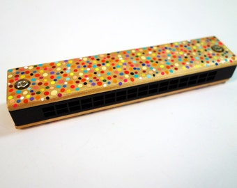 Hand Painted Gold Rainbow Confetti Harmonica