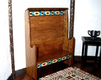 Settle with Inlay Trim, Folk Art Dollhouse Miniature 1/12 Scale, Hand Made in the USA