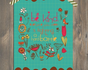 Christian Art BE KIND - Scripture Art, Christian Art for a Fun Colorful Home